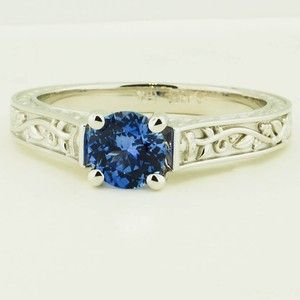 18K White Gold Sapphire Jardinere Ring – Set with a Premium 6mm Round Blue Sri L…