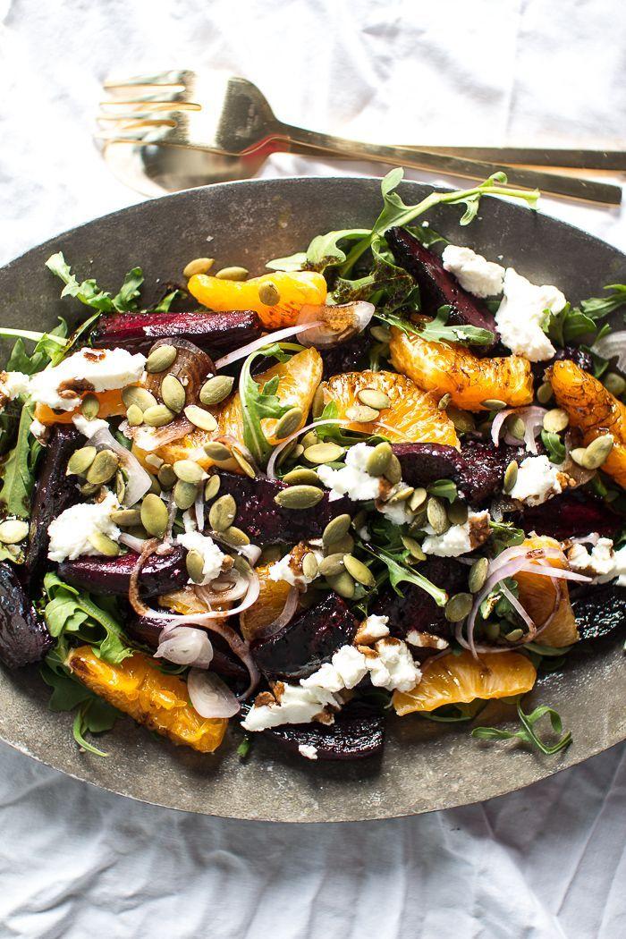 Balsamic Roasted Beets Orange, + Chévre Salad with Pumpkin Seeds.