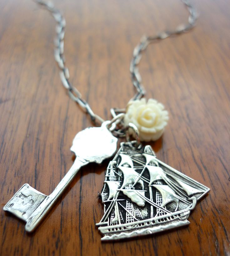 Silver Ship Charm Necklace