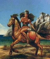 Queen Hesperian  Originating in the Canaries, Hesperian conquered parts of Syria, Egypt and Turkey, as well as the islands of Sámos, Lesbos, Patmos and Samothrace. Their military power was written of by Herodotus in the 6th century B.C. Several cities bore her name, including Smyrna (now Izmir). The earliest account of troops riding horses into combat is a North African battle in which she led a cavalry of 30,000 women.