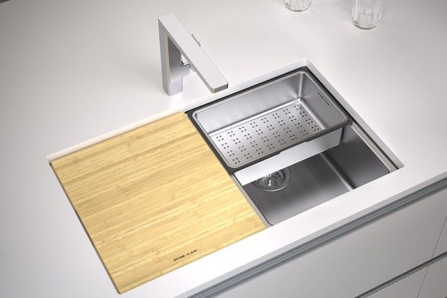 Clark Pete Evans Double Bowl Undermount with chopping board.