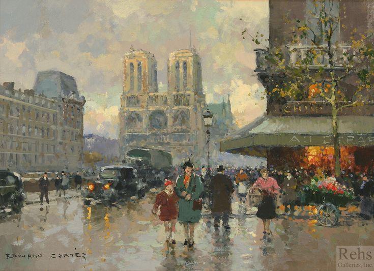 """Edouard Leon Cortes (1882-1969) ~ """"Notre-Dame de Paris"""" ~ huile sur Toile 13 x 18 ~ Collection Privée"""