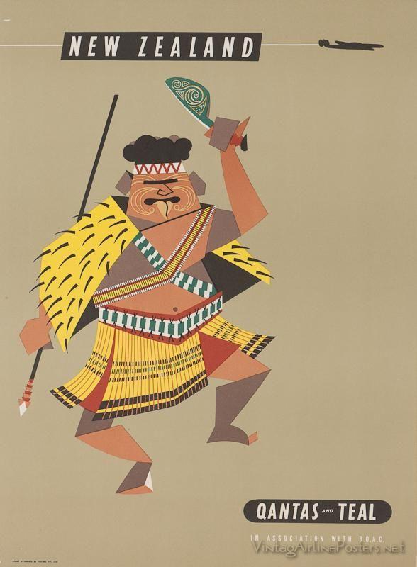 New Zealand Maori vintage travel poster.