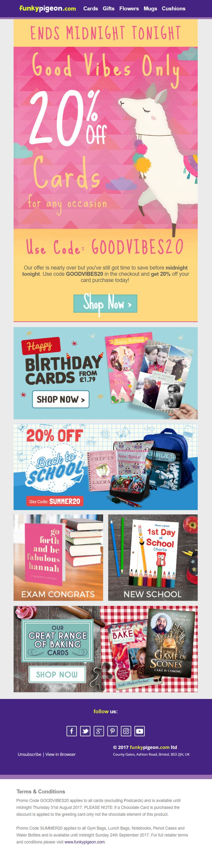 email with 20 off discount and coupon code from funky