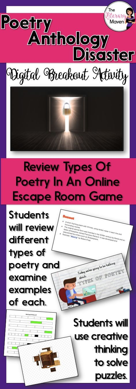 This digital breakout is intended for reinforcing forms of poetry including free verse, sonnet, limerick, haiku, lyric, ode, ballad, epic, and catalog poem. In this Escape Room-like game, students will interact with a variety of text and media, including a Google Slides presentation with definitions and information about types of poems, a video overview of poetic forms, and 18 different poems by a variety of poets. Students will use this information to find the codes to unlock a series of…