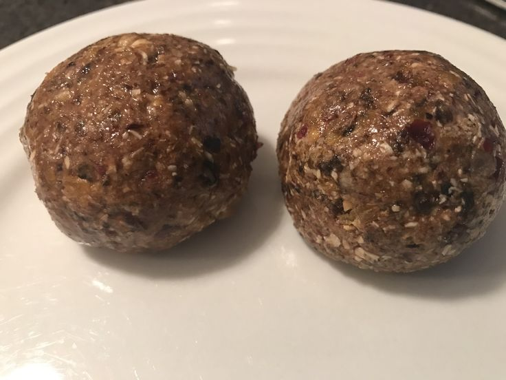 Breakfast Protein Balls Makes: 12 Ingredients: 1 cup toasted muesli 150g pitted prunes (or dates) 100g dried apricots 60g dried cranberries 5 scoops (150g) pure protein powder 1/4 cup honey&n…