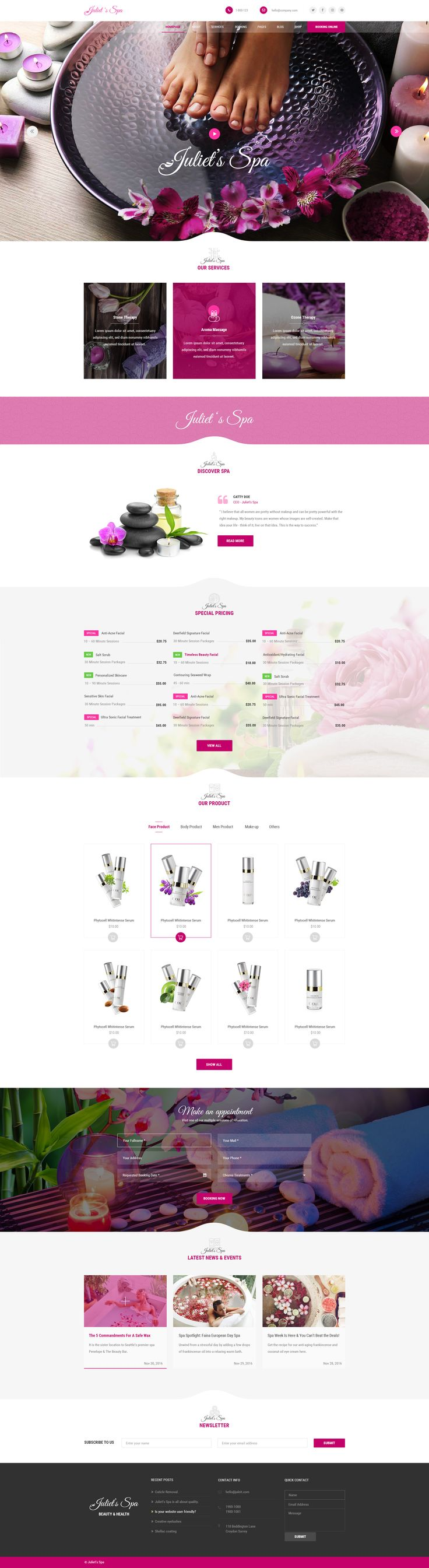 Juliet's Spa – PSD Template is the PSD with visually appealing and aesthetic design, it is an elegant and modern design style Template that can help to build an awesome site Spa, Health and Beauty ...