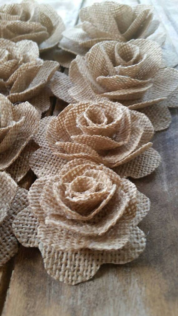 Burlap Flower, Burlap Rose, Country Wedding, Cake Decorations, Rustic Flower, Wedding Decoration