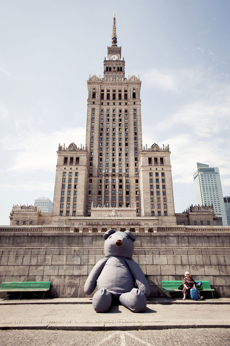the cuddly: a giant plush teddy takes to the streets of warsaw - designboom | architecture & design magazine