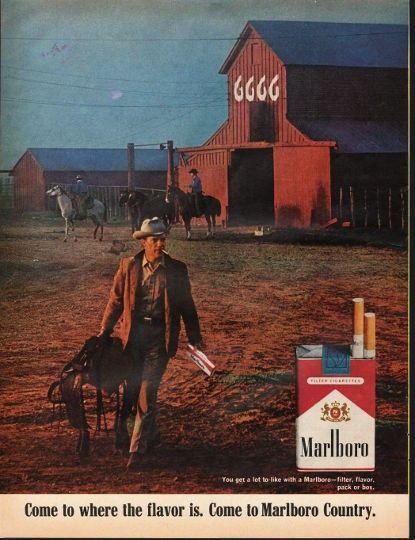 """1966 MARLBORO CIGARETTES vintage magazine advertisement """"filter, flavor, pack or box"""" ~ You get a lot to like with a Marlboro -- filter, flavor, pack or box. - Come to where the flavor is. Come to Marlboro Country. ~"""