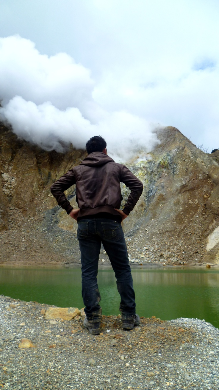 Random crater above the green lake. Papandayan Volcano, West Java, Indonesia