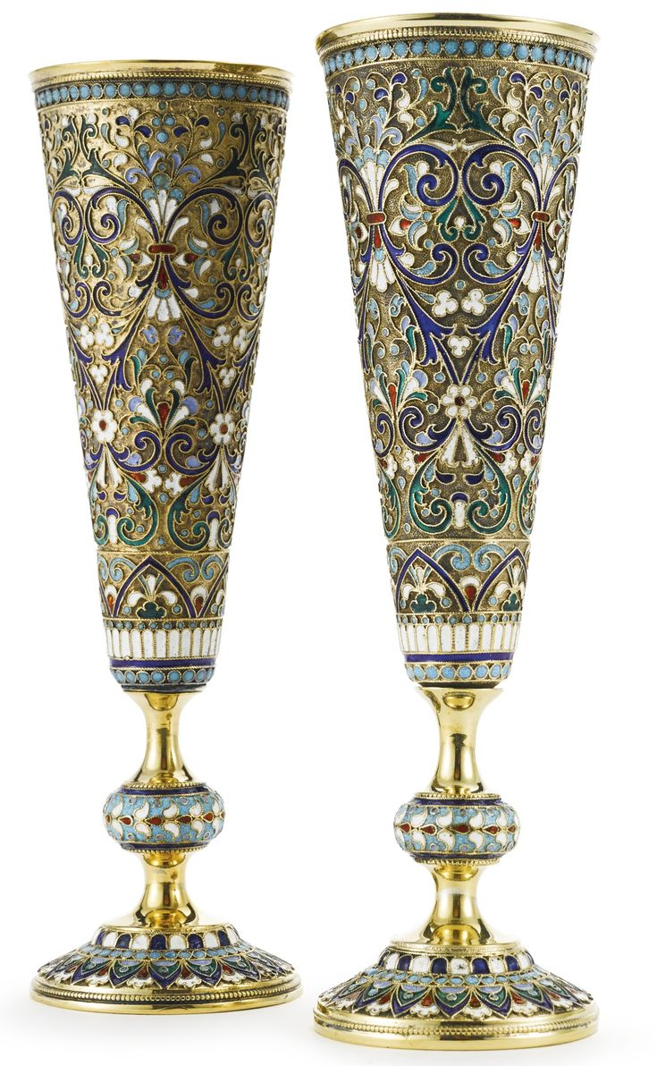 A pair of Russian gilded silver and cloisonné enamel champagne flutes, Fedor Rückert, Moscow, circa 1890   Lot   Sotheby's