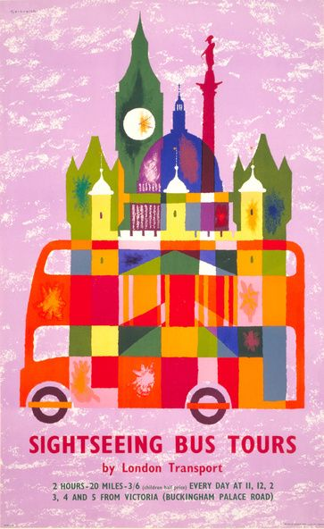 Vintage Travel Poster - London - Sightseeing Bus Tours - (London Transport).