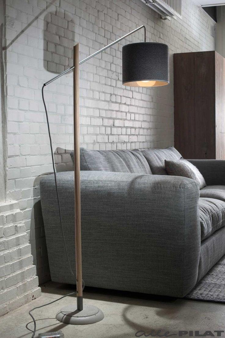 Houten vloerlamp Markus met betonnen voet - Woonwinkel Alle Pilat