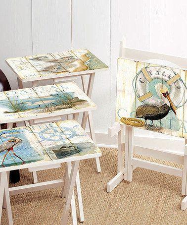 Another great find on #zulily! Shore Bird TV Tray Stand Set #zulilyfinds