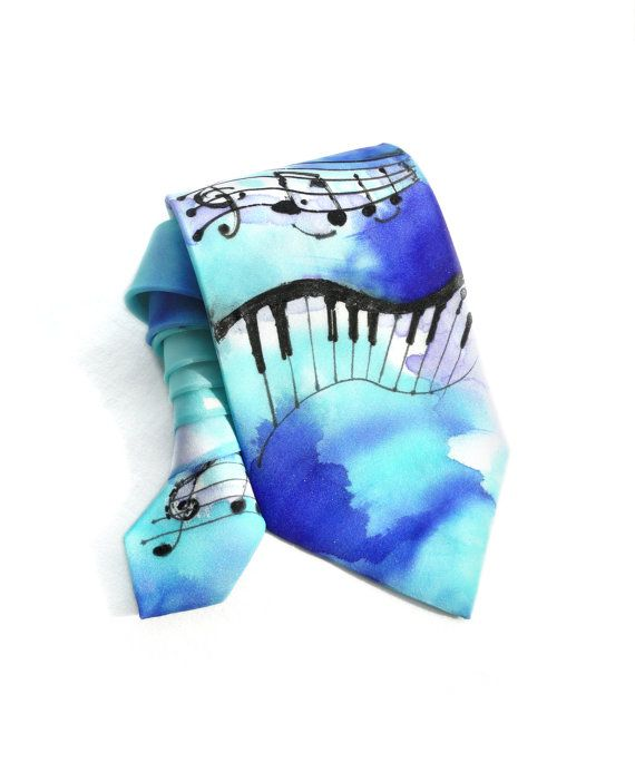 Musical Notes Tie. Hand Painted Silk Tie. Gift for by TeresaMare