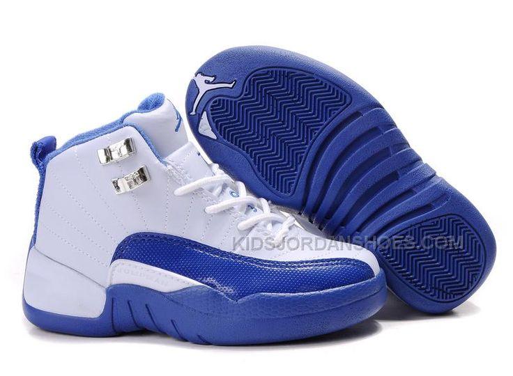 huge discount 0e64d 7ac62 ... Big Kids Jordan Shoes Kids Air Jordan 12 White Blue Kids Air Jordan 12  - Add ...