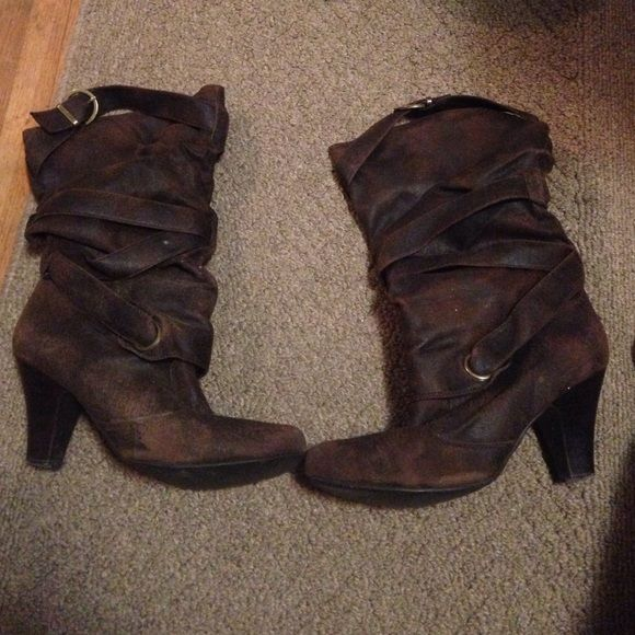 FREE!!!! Brown heeled boots Brown heeled boots. $5 and they are yours! Not in the best shape and need to go! Shoes Heeled Boots