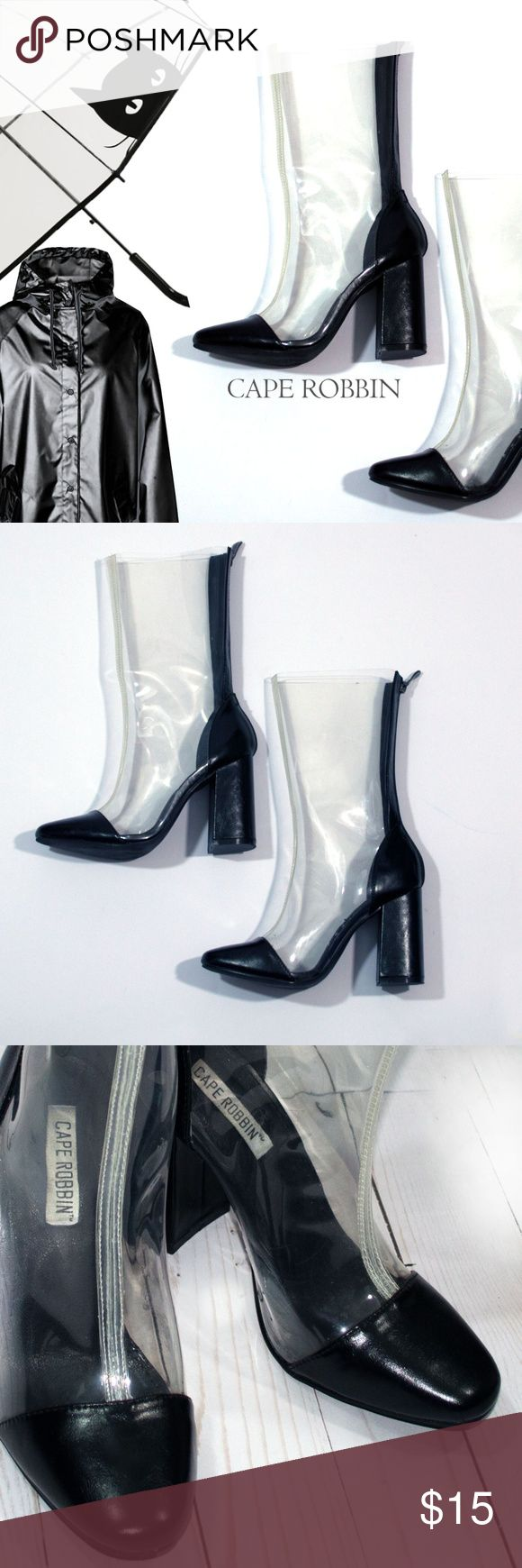 """Unique Cape Robbin Clear High Heels Rain Boot Blk Very Unique Clear High Heel Rain Boots with Back Zipper made by Cape Robbin, This company makes very unique rain boots. Worn Once, practically brand new.  Size:  6.5  Heel Height:  3"""" Height: 12"""" Toe to Heel: 9""""  Vegan Material Cape Robbin Shoes Winter & Rain Boots"""