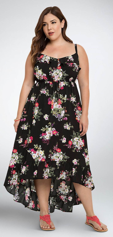 Plus Size Floral Ruffle Hi-Lo Maxi Dress