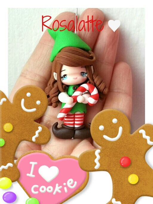 https://flic.kr/p/j7oynN | Pendant Christmas elf in polymer clay (Fimo) | My fb page is: www.facebook.com/pages/Rosalatte/486823904695902