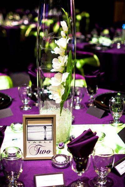 wedding centerpiece idea...and the purple table decor!!