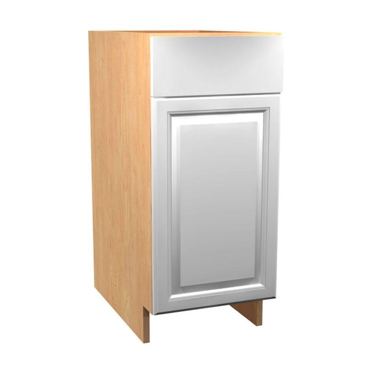 18x34.5x24 in. Anzio Base Cabinet with Double 35 Qt. Waste Bin 1 Soft Close Door and 1 Soft Close Drawer in Polar White