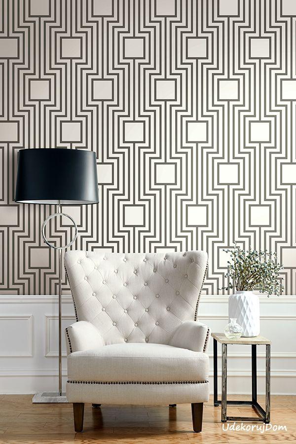 Biała tapeta z wzorem połyskującego labiryntu / White wallpaper with a pattern shiny labyrinth