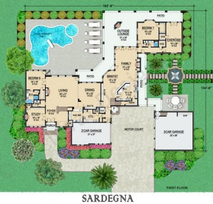 Sardegna Courtyard Floor Plan Mediterranean Floor Plans
