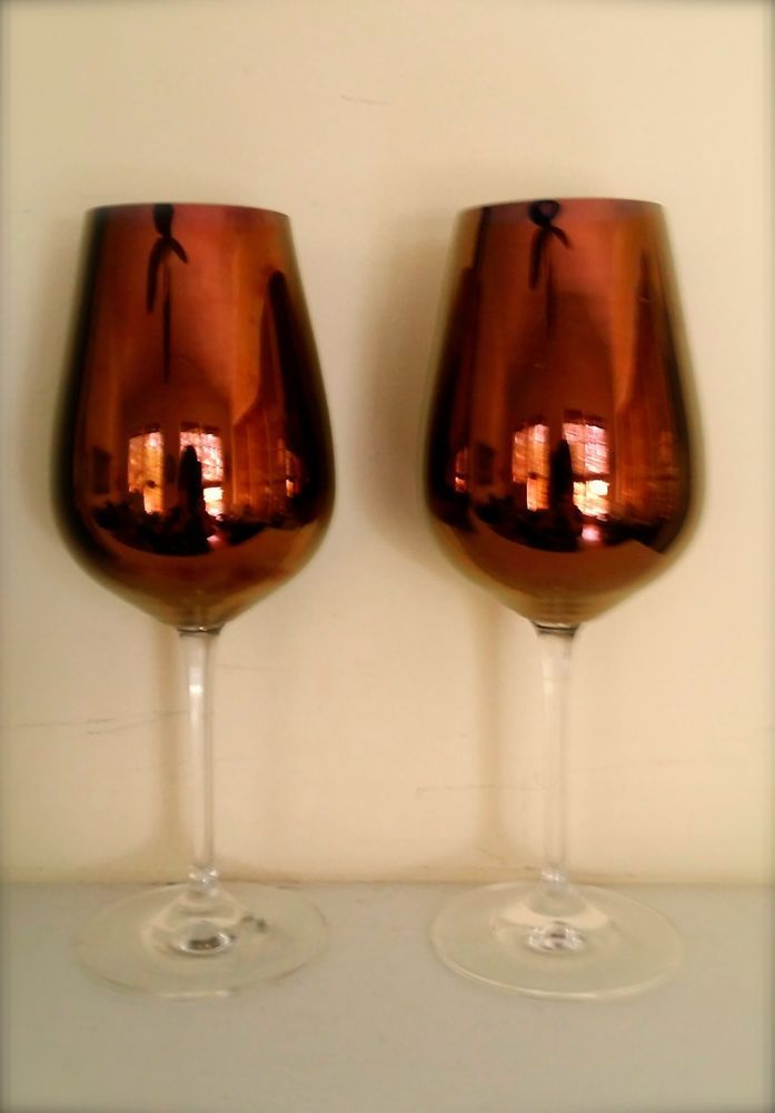 Set of Burgundy Wine Glasses, Vintage, Shimmering Tulip Glasses