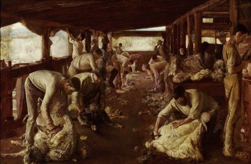 By Tom Roberts - Shearing the Golden Fleece 1894