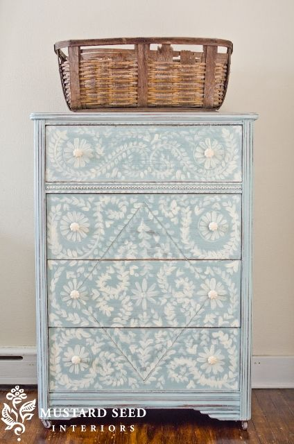 Beautifully painted chest via miss mustard seed
