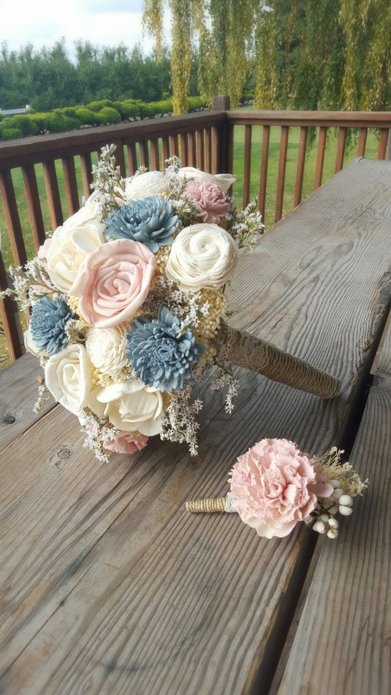 Blush and Slate Dusty Blue Wedding Collection by StellaDesignsShop