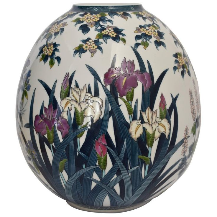 Japanese Contemporary Ovoid Hand-Painted Porcelain Vase by Master Artist   1stdibs.com