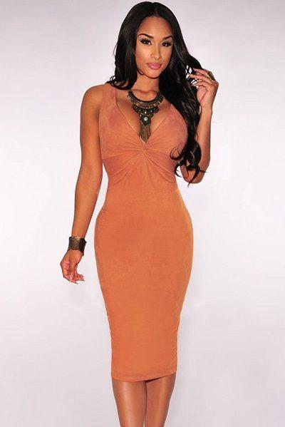 Orange Faux Suede Knotted Keyhole Dress