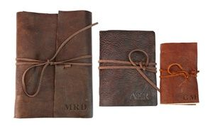 Old-fashioned journals bound with rustic leather and emblazoned with your initials provide the perfect place for notes or diary entries