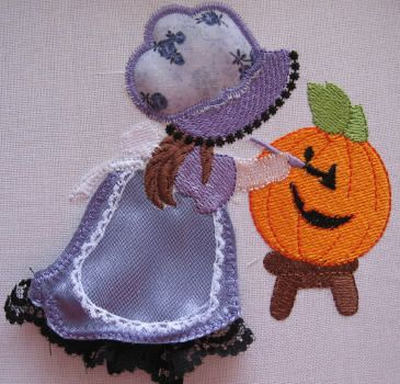 DESIGN PACK: Stump Work3 Get your Collection of Halloween Sunbonnets Today!· These are so pretty and perfect for your Halloween Projects.· Done in Lilac Satin, Delicate Netting and matching Lilac Granny Print, these Sunbonnets are full of texture and life.  Use on Quilts, Fancy Totes and even clothing.  I've framed mine and used in my home. http://tinyurl.com/h2lo3vj