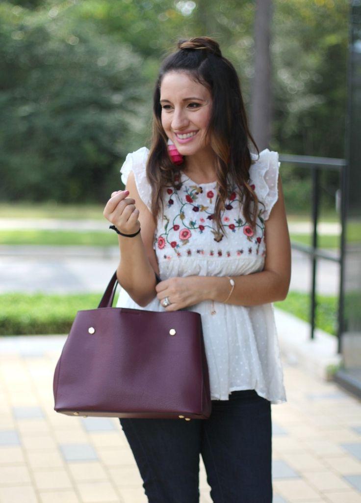 Embroidered flutter trim top, Pretty In Her Pearls, Style Blogger #styleblogger #petiteblogger