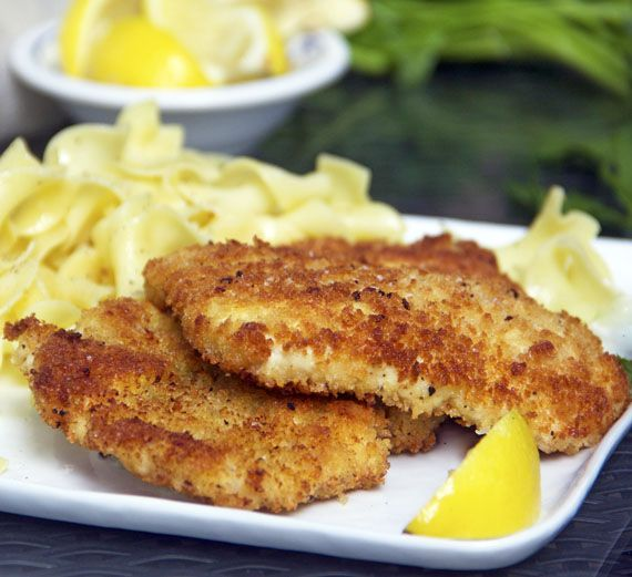 Chicken Shnitzel.  Scallops of chicken breast, breaded, sautéed until golden brown on the outside and tender inside.  Great with noodles and salad.