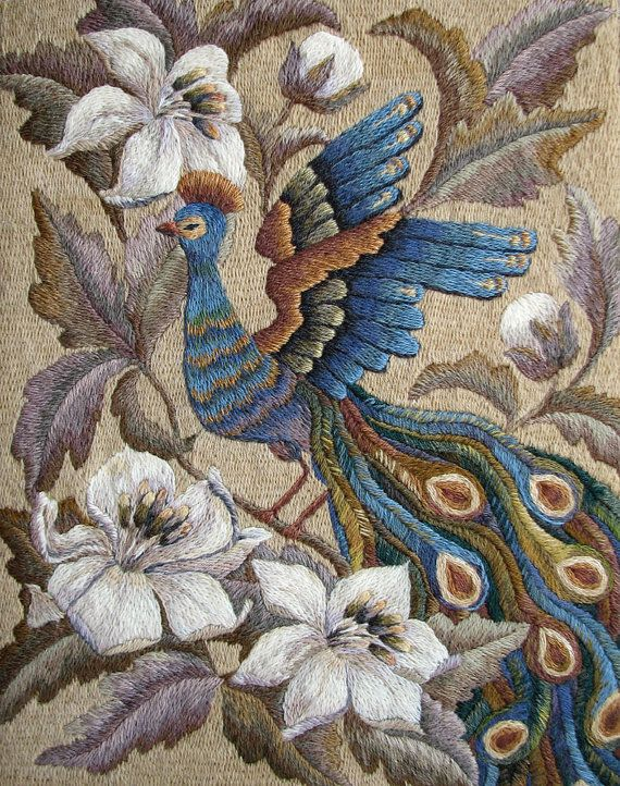 Handmade Embroidery  Wall Decoration  The Blue Bird by NeedleWay