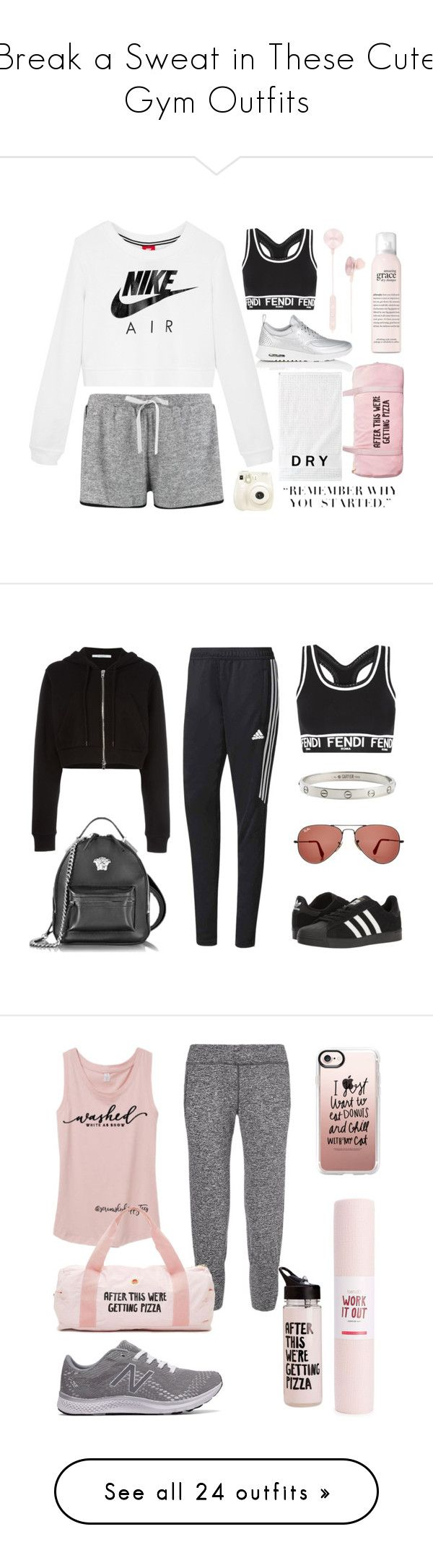 """""""Break a Sweat in These Cute Gym Outfits"""" by polyvore-editorial ❤ liked on Polyvore featuring waystowear, gymoutfits, NIKE, Boohoo, Fendi, i.am+, philosophy, ban.do, DKNY and Fujifilm"""