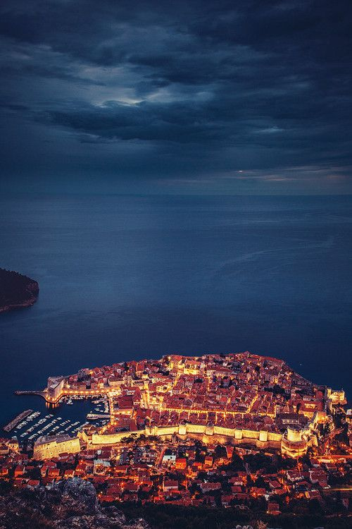 Dubrovnik at night, Croatia
