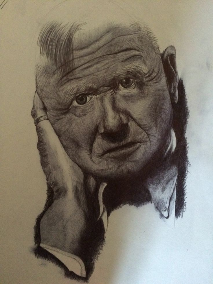 Biro drawing of writer Christopher Isherwood for GCSE fine art coursework