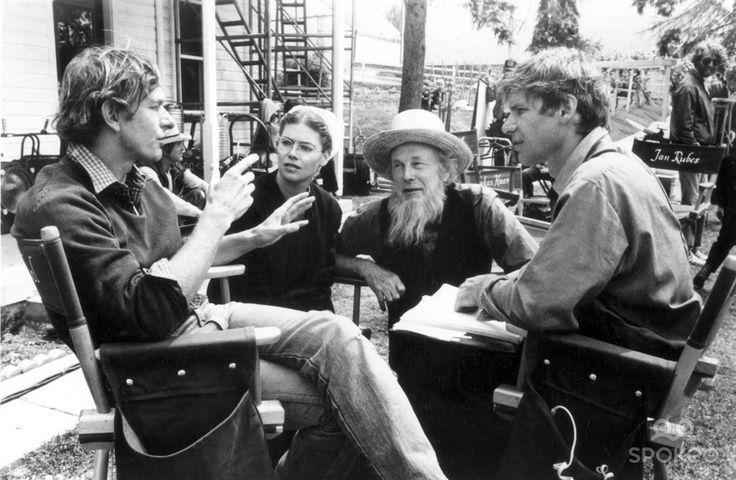 ... 1985 kelly mcgillis jan rubes harrison ford on set of witness 1985
