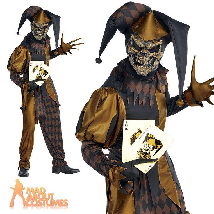Evil Jester Costume Mens Jokers Wild Fancy Dress Scary Clown Halloween Outfit