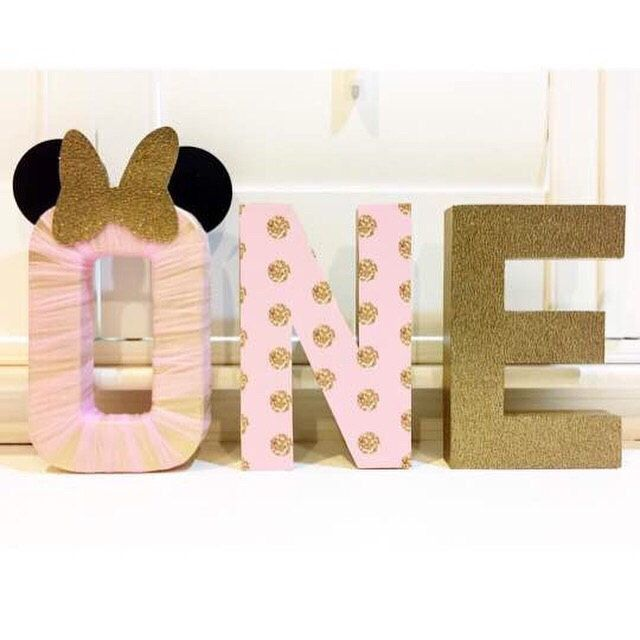 awesome Custom made Minnie Mouse inspired pink and gold letters