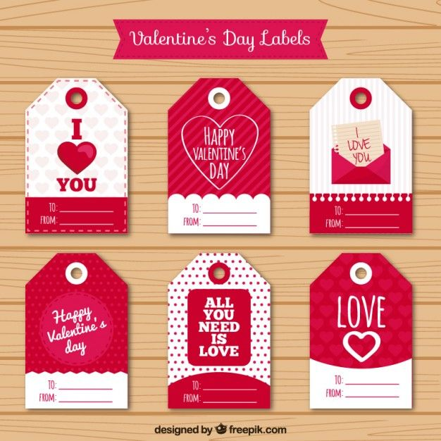 Valentines day tags pack Free Vector