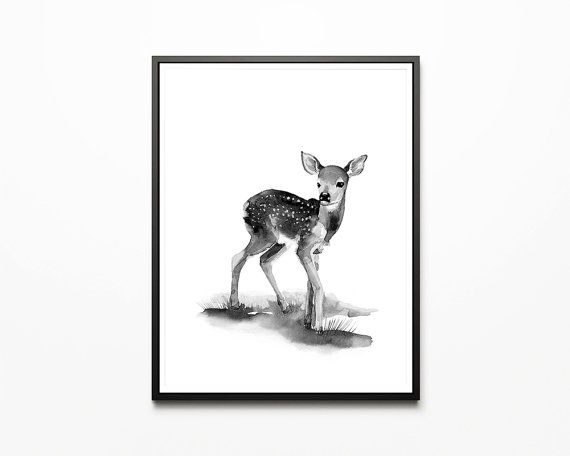 Printable nursery art/ deer/ fawn/ by WatercolorprintByOli on Etsy