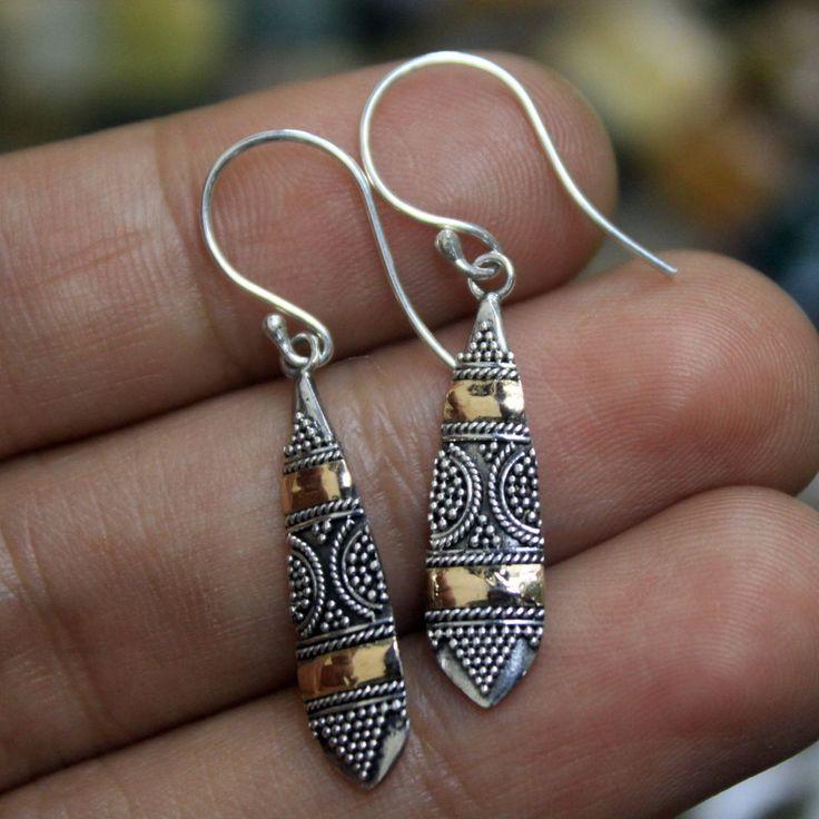 25mm Balinese Floral Motive 925 Sterling Silver w 18K Gold Bali Dangle Earring