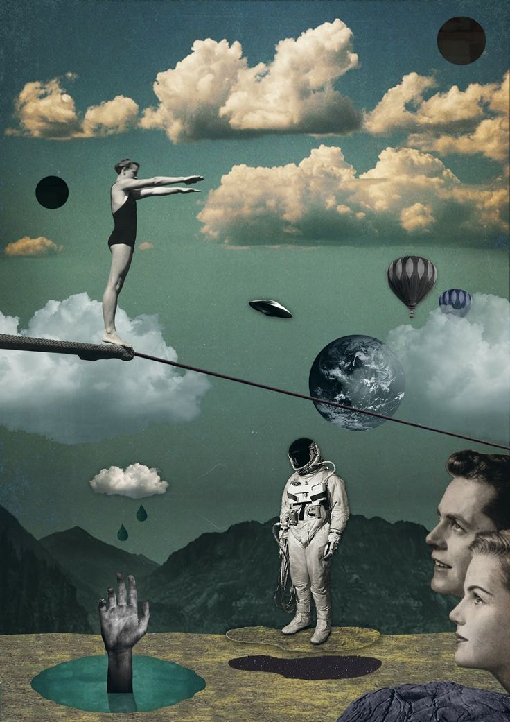 monde imaginaire, extra-ordinaire. grâce au système de collage